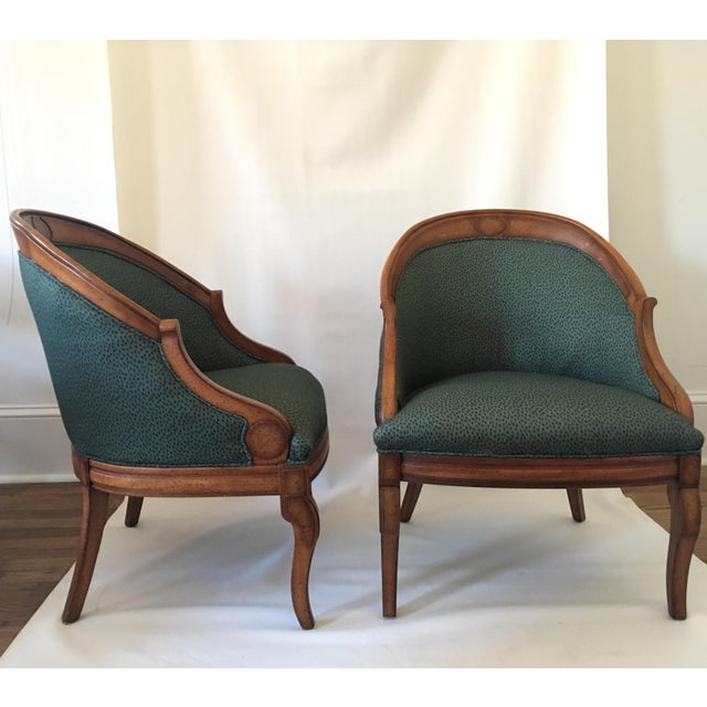 Vintage Upholstered Barrel Chairs A Pair Chairish