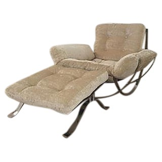 Italian Cream Cut Velvet & Chrome Chair & Ottoman
