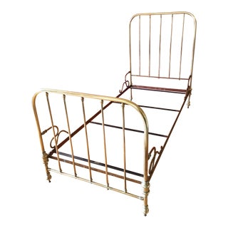 1930's French Solid Brass Bedframe