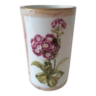 Vintage Floral Painted Modern Form Vase