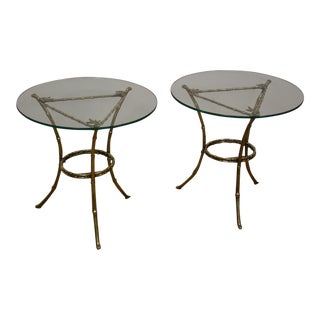 Faux Bamboo Glass and Brass End Tables - A Pair