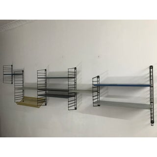 1960's modular multi colored steel wall mounted shelf by Tomado Denmark