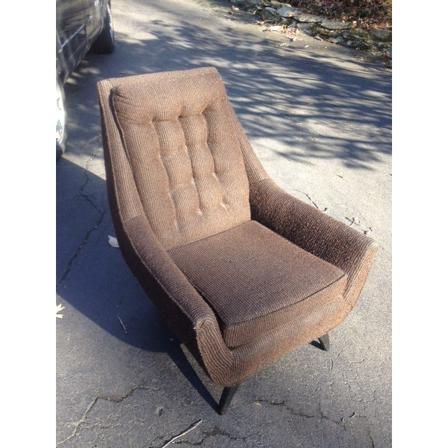 Mid-Century Modern Tufted Brown Club Chair - Image 9 of 9