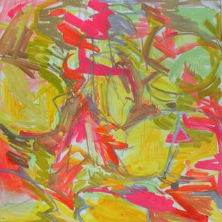 "Large Abstract by Trixie Pitts ""Water Lilies In Red And Yellow"""