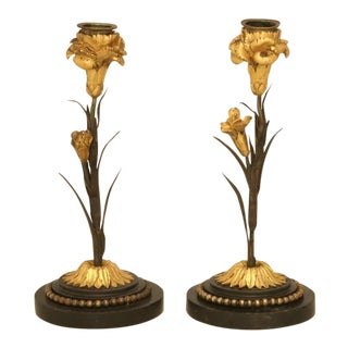 Pair of Magnificent Antique French Dore Candlesticks