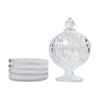 Lead Crystal Olive Bowl & Plates - Set of 5