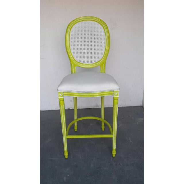 Image of French Louis XV Lime & White Bar Stools - A Pair