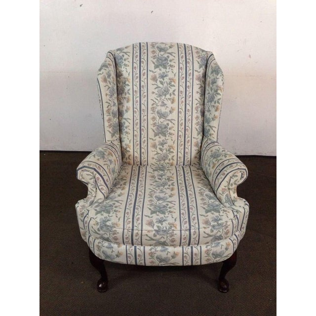 Vintage Broyhill Floral Upholstered & Mahogany Wingback ...