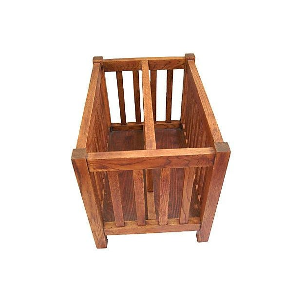 Vintage Solid Golden Oak Magazine Holder - Image 2 of 7