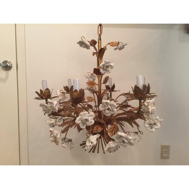 Image of Vintage 1960s Italian Porcelain Flowers Chandelier