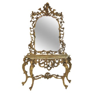 Italian Style Figural Gilt Carved Console & Mirror