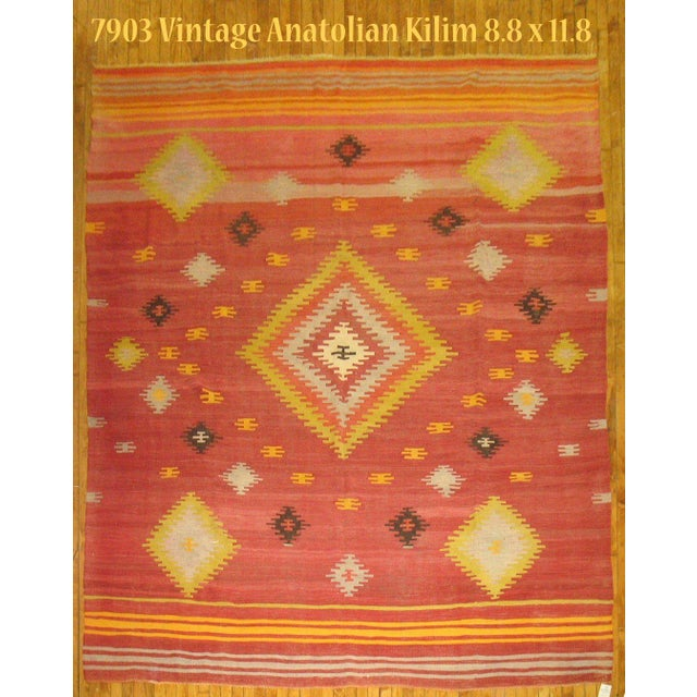Vintage Red & Yellow Kilim Rug - 8'8'' X 11'8'' - Image 2 of 6