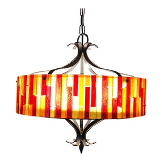 Modern Moe Light Cast Fiesta Lucite & Metal Hanging Ceiling Lamp