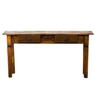 Reclaimed Solid Wood Console With Carving Details