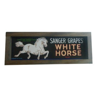 1940s Vintage White Horse Grape Crate Sign