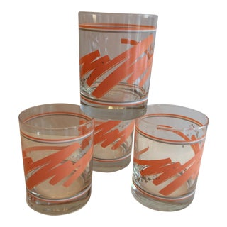 Vintage Swirl Coral White Grey Lo-Ball Glasses - Set of 4
