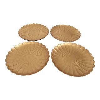 Vintage Japanese Gold Leaf & Black Lacquer Plates- Set of 4