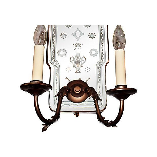Bronze Metal Mirror-Backed Sconces - A Pair - Image 4 of 6