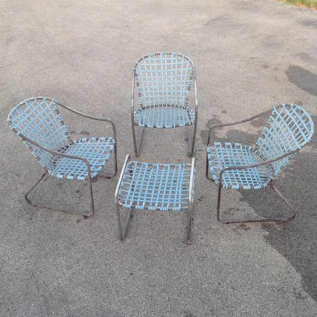 Brown Jordan Vintage Signed Chairs and Ottoman - Image 2 of 7