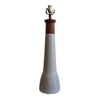 Mid-Century Martz White & Brown Ceramic Table Lamp