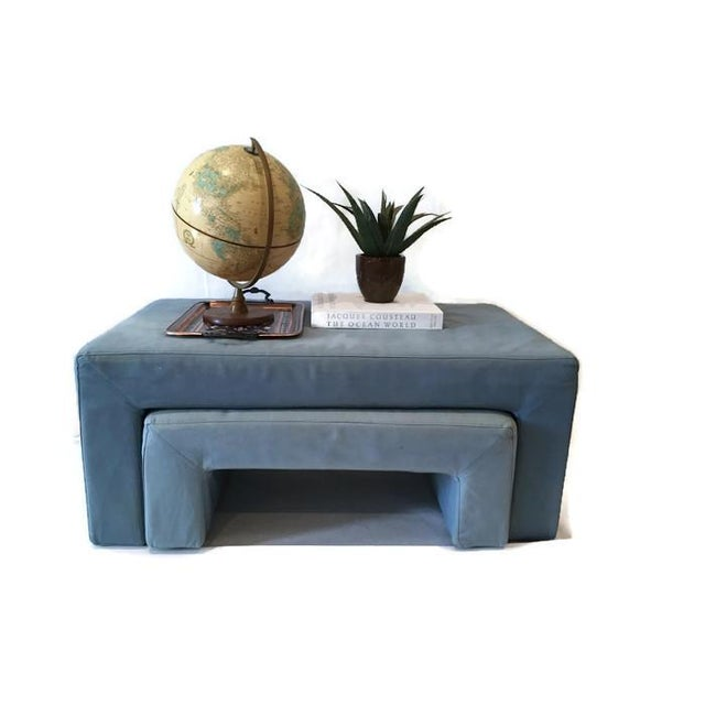 Image of Vintage Fabric Parsons Coffee Table & Ottoman Set