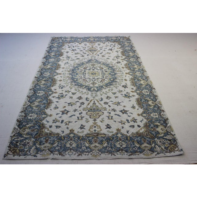 "Blue Cream Turkish Overdyed Rug - 6'1"" X 10' - Image 3 of 9"