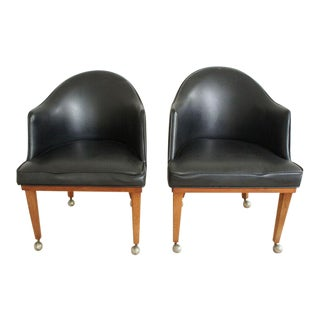 Mid-Century Rolling Armchairs- A Pair