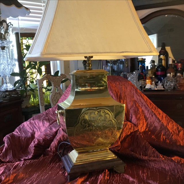 Mid-Century Modern Asian Brass Table Lamp - Image 6 of 11