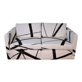 Knoll Pfister Loveseat Sofa With Custom Hand-Painted Fabric