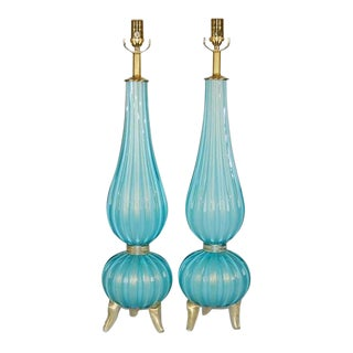 Three Footed Murano Lamps in Dreamy Blue