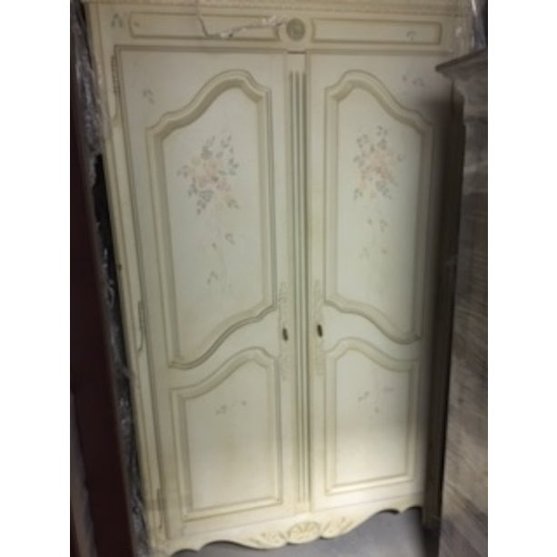 Hand Painted French Country Armoire by Ethan Allen | Chairish