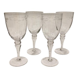 Crystal Wheat Etched Water Goblets - Set of 4