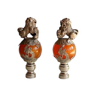 Chinese Foo Dog Lamp Finials on Brushed Brass Bases - A Pair