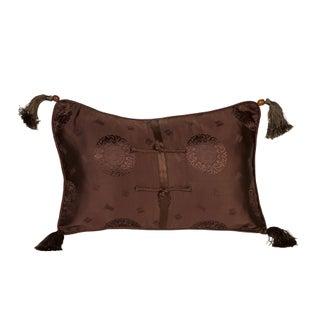 Brown Medallion Silk Brocade 12x18 Pillow