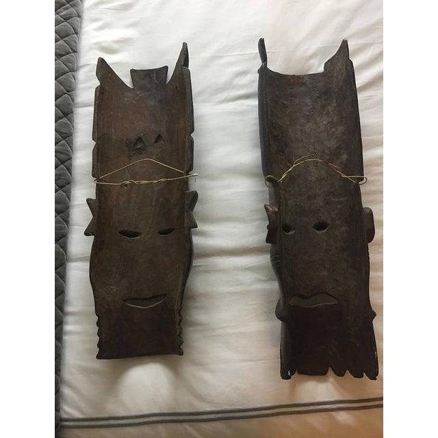 Vintage Hand-Carved Tribal Warrior Masks - A Pair - Image 6 of 6