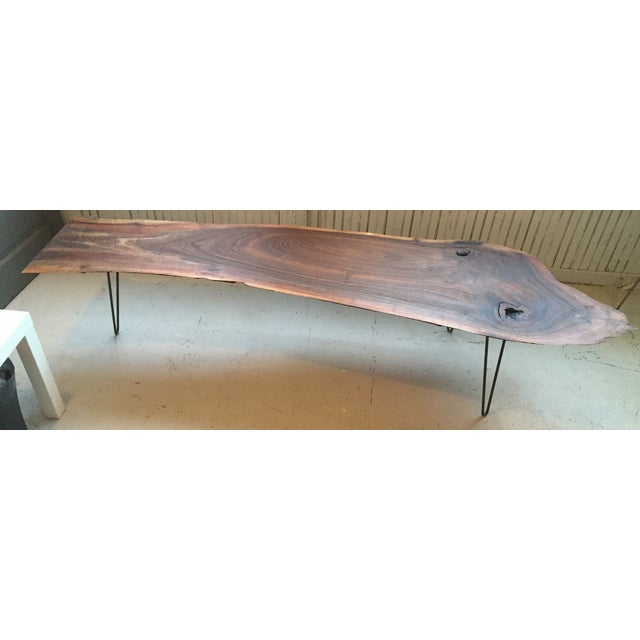 Black Walnut Live Edge Coffee Table, Hairpin Legs - Image 3 of 12