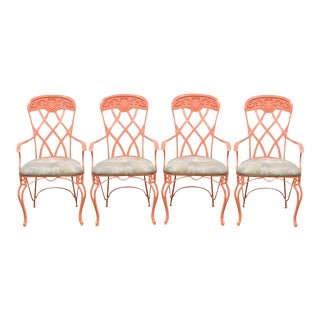 Vintage French Regency Style Wrought Iron Patio Chairs - Set of 4