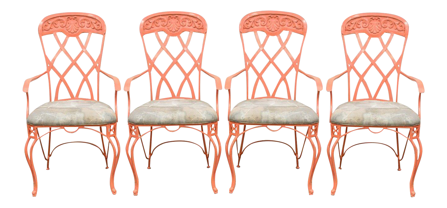 Vintage French Regency Style Wrought Iron Patio Chairs   Set Of 4