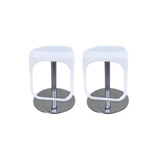 White & Chrome Adjustable Counter Stools - Set of 2