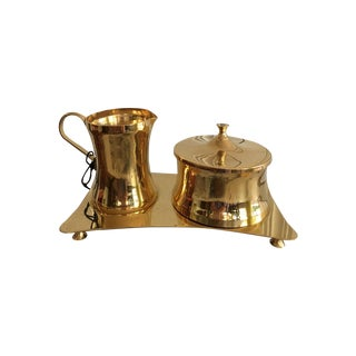 Brass Cream & Sugar Containers on Tray