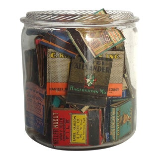 Vintage Matchbook Collection in Antique Jar