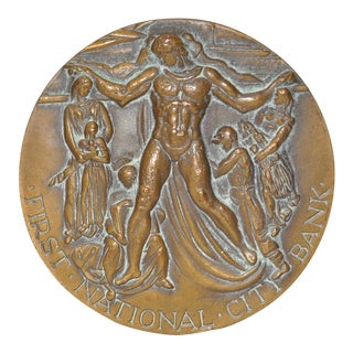 First National Bank New York 150 Year Commemorative Bronze c.1962