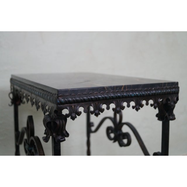 Antique Gothic Wrought Iron Marble Console Table - Image 10 of 10