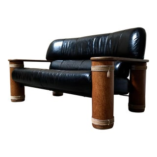 Rustic Leather and Wood Settee by Pacific Green
