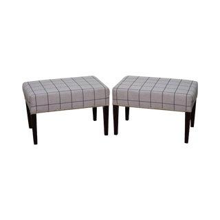 Custom Grey Plaid Upholstered Mahogany Ottomans/Benches - a Pair