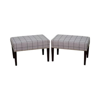 Custom Grey Plaid Upholstered Mahogany Ottomans/Benches - a Pair