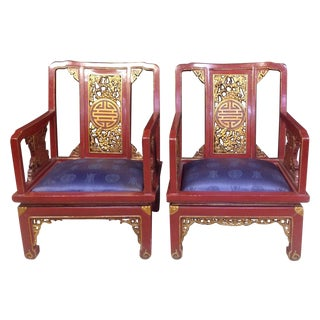 Chinese Red Lacquer Chairs - A Pair