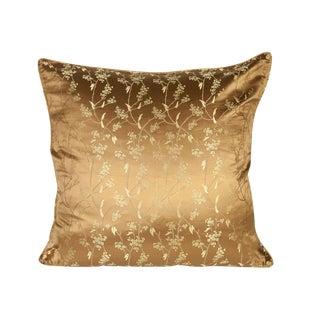 Bronze Vine Silk Brocade 26x26 Pillow