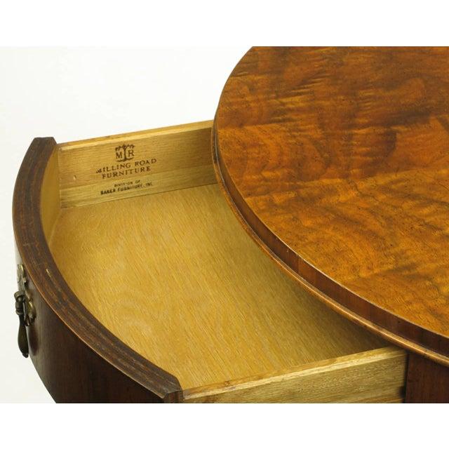 """Baker Furniture """"Milling Road"""" Figured Walnut Regency Side Table - Image 8 of 10"""