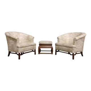Baker Far East Lounge Chairs and Stool in The Style of Michael Taylor - Set of 3